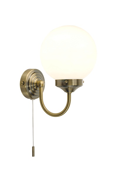 barclay bathroom wall lamp with pull cord switch ip44 antique. Black Bedroom Furniture Sets. Home Design Ideas