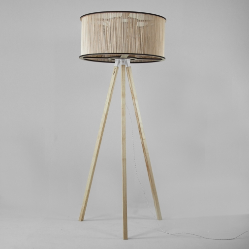 Cage Floor Light and Wooden Floor Stand