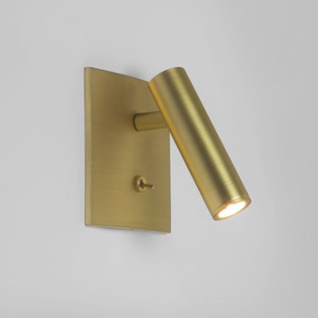 Daito  LED Square Wall Light Switched, Matt Gold