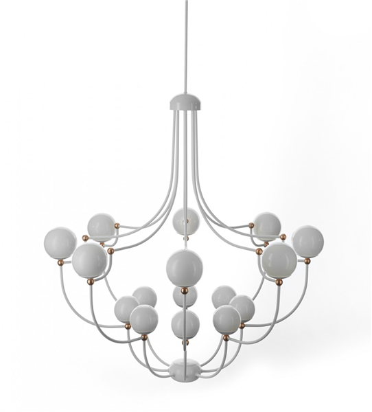 Luna  White Chandelier with Copper Highlights
