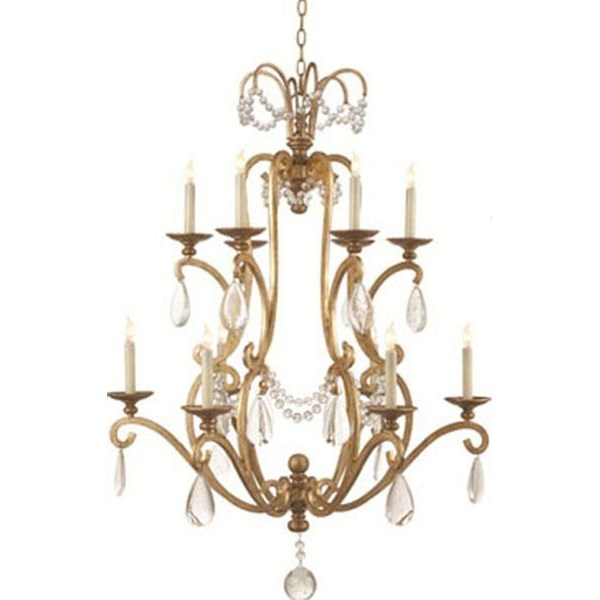 Large Chandelier with Seeded Glass
