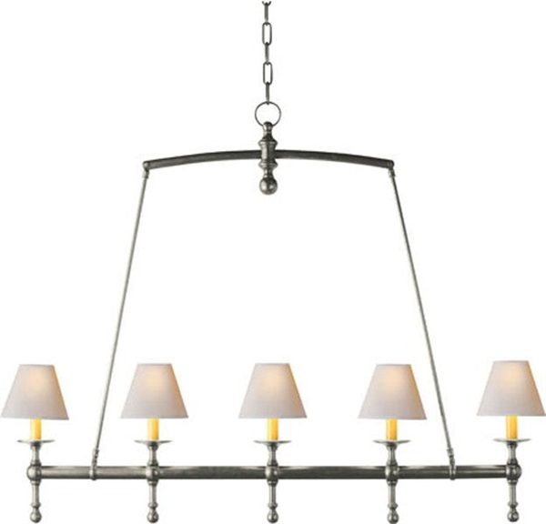 Classic Linear Chandelier in Antique Nickel with N
