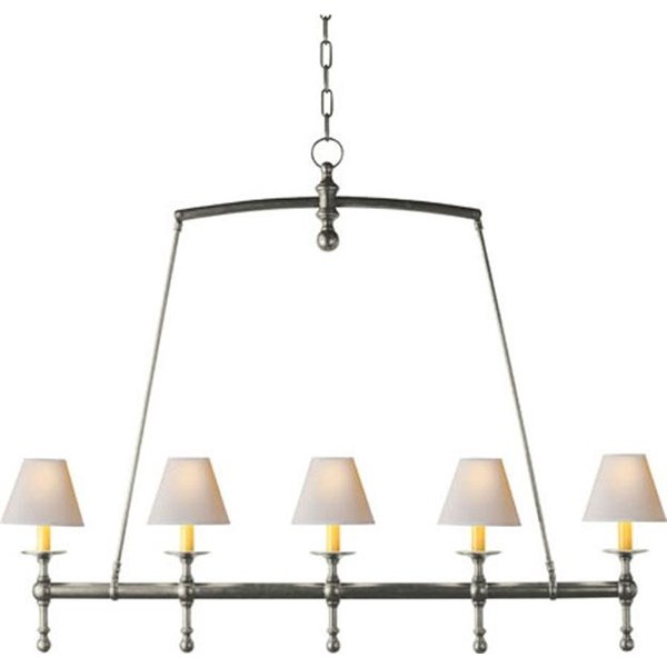 Linear Chandelier in Antique Nickel with Shade