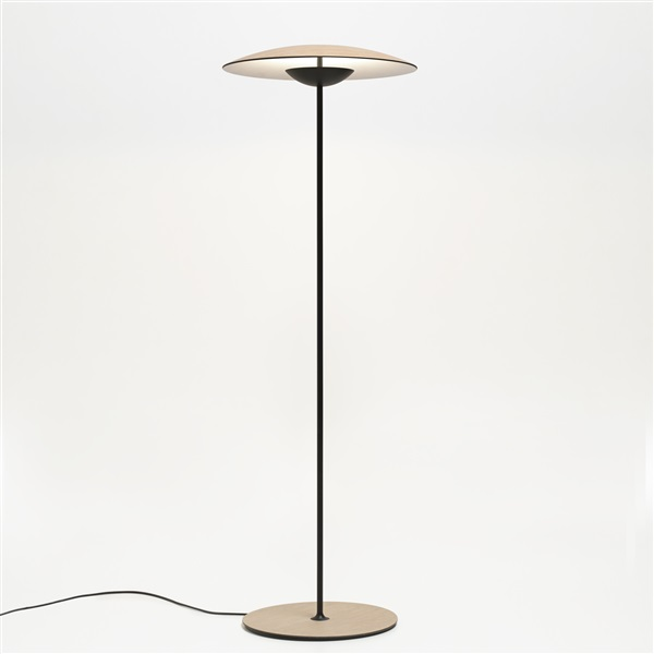 Ginger P LED Floor Lamp Lacquered Black Matt Metal Stem