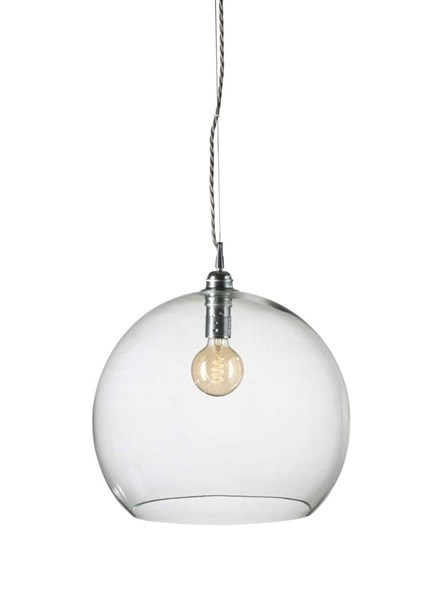 39cm Extra-Large Mouth Blown Glass LED Pendant with Silver Metal Fitting