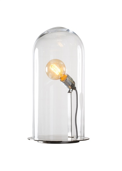 23cm, Mouthblown Glass Table Lamp with Silver Base
