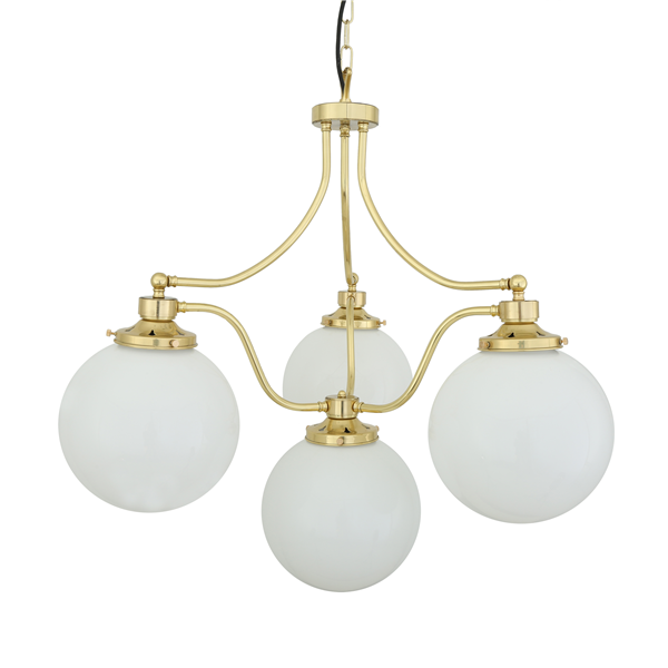 Cuban  Blacktail with 4 Light Chandelier with Glass Domes