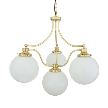 Cuban  Blacktail, 4 Light Chandelier with Glass Domes