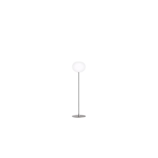 Milano  F1 Floor Lamp Matt Silver with Opal Glass