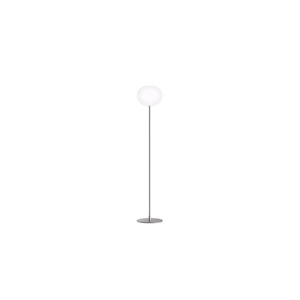 Milano  F2 Floor Lamp Matt Silver with Opal Glass