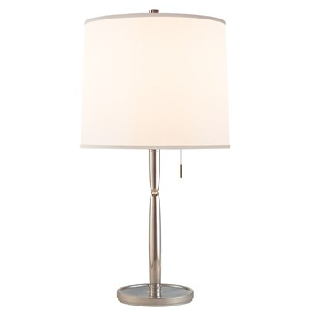 Mauriac  Table Lamp with Silk Shade, Soft Silver