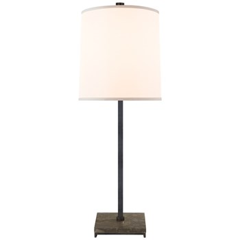 Mauriac  Table Lamp with Silk Shade, Bronze