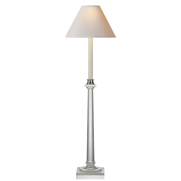 Crystal, Swedish Column Buffet Lamp in Antique-Burnished Br