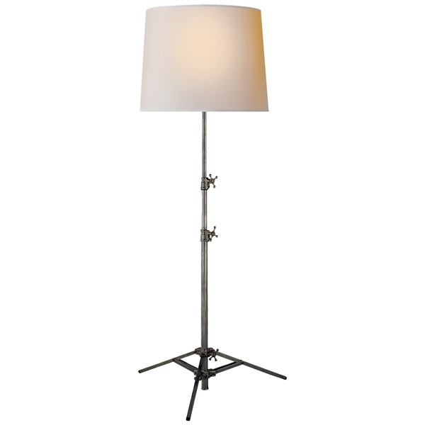 Adjustable Floor Lamp with Natural Shade