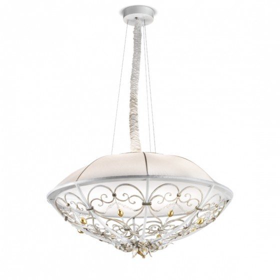 Pendant Lamp with Down Light, Iron, Glass
