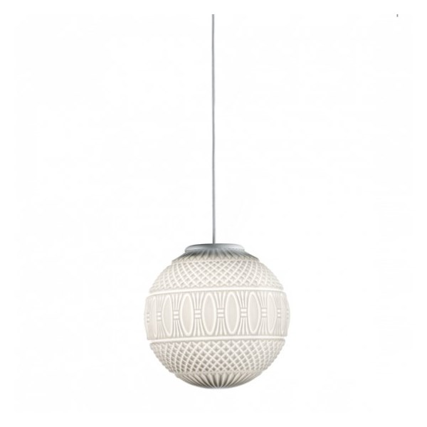 Suspended Lamp, Round Blown Glass Diffuser