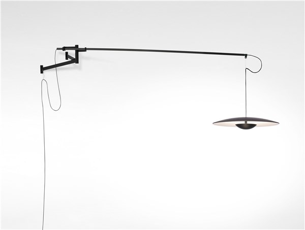 A XL 42 Recessed Canopy Extra-Large LED Wall Light with Aluminum Dissipater and Metal Stem