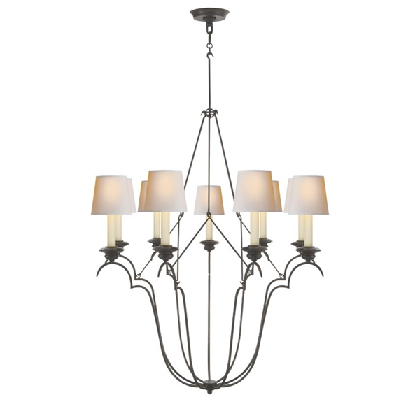 E. F. Chapman Belvedere 9-Light Chandelier Natural Paper Shades