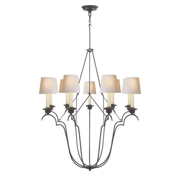 E. F. Chapman Belvedere 9-Light Chandelier with Natural Paper Shades