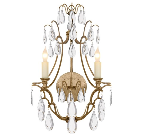 E. F. Chapman Penhurst Clear Crystal Wall Light with Clear Glass