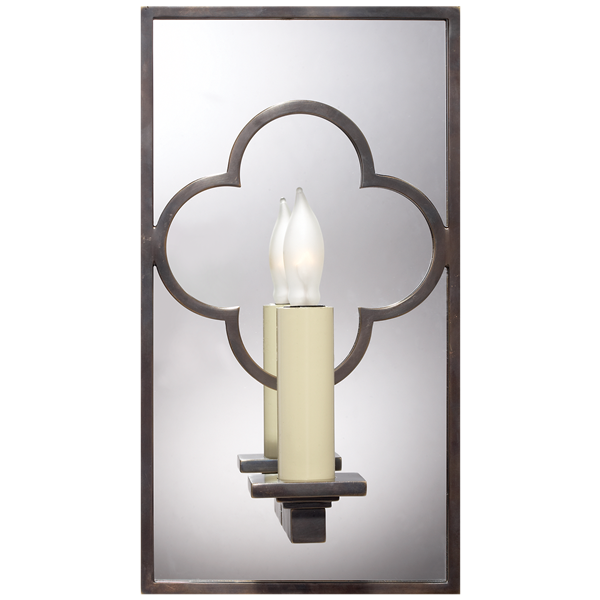 Suzanne Kasler Quatrefoil Rectangle Mirrored Wall Light