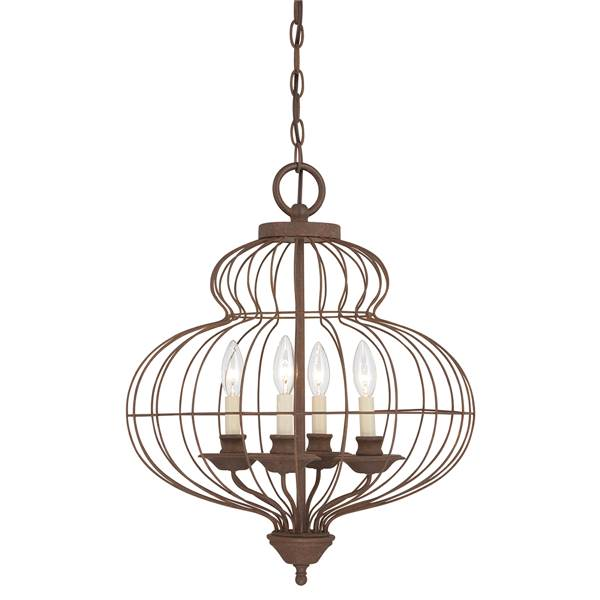 Elstead Laila 4-Light Pendant Rustic Antique Bronze