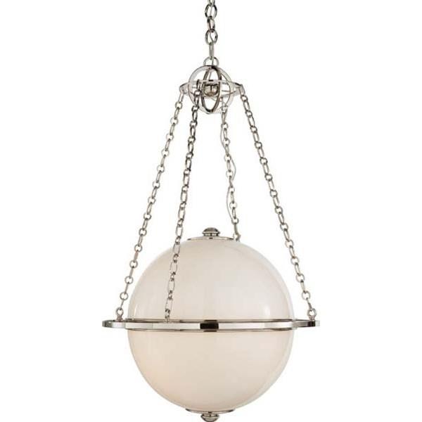 Modern Globe Pendant in Bronze with White Glass