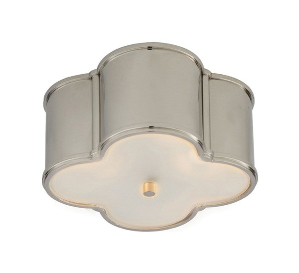 Small Flush Mount with Quatrefoil Leaf Design & Frosted Glass