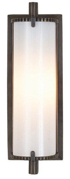 Verne  Small Wall Light With White Glass, Bronze