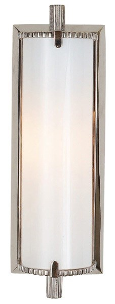 Verne  Small Wall Light With White Glass, Polished Nickel