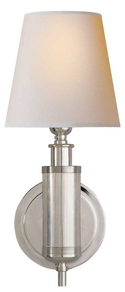 Baudelaire  Sconce with in Polished Nickel with Natural Paper Shades