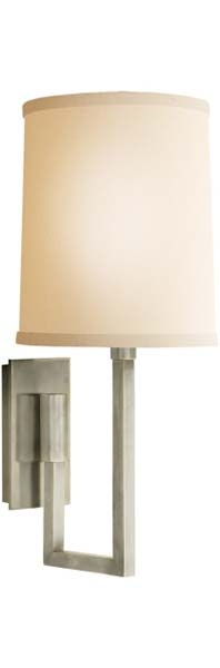 Aspect Library Sconce with Ivory Linen Shade