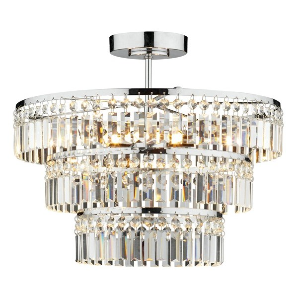 Semi-Flush 3 Tier Chrome & Crystal Pendant