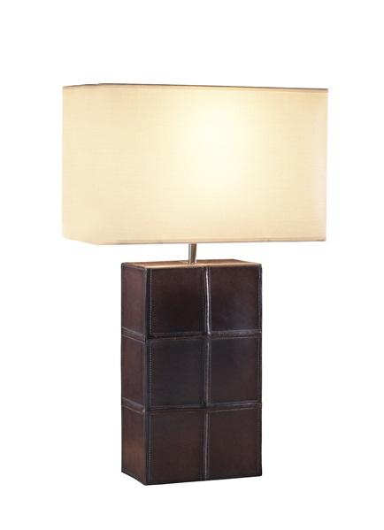 saddler rectangular mocha leather table lamp with shade. Black Bedroom Furniture Sets. Home Design Ideas