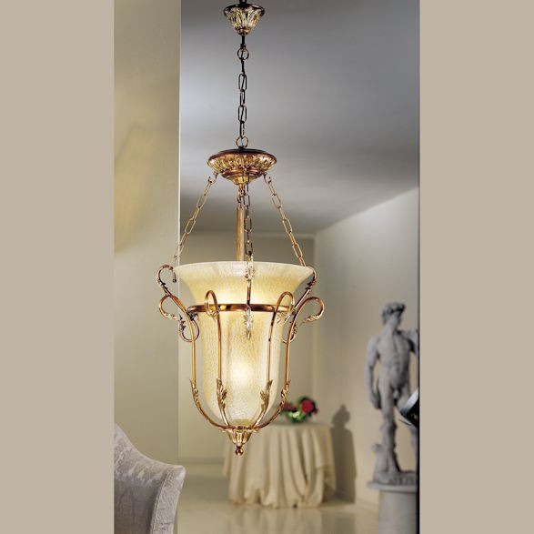 Leaf Pendant Light with Amber Crackle Glass