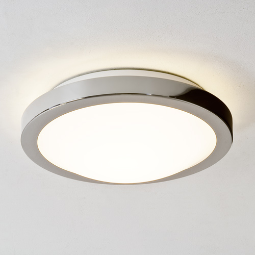 Mariner Round Ceiling Light, Polished Chrome, Frosted Glas