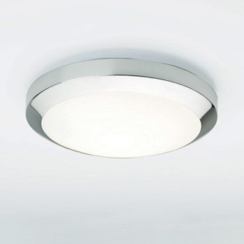 Kyoto  300, A modern flush ceiling light with opal glass cover, Chrome
