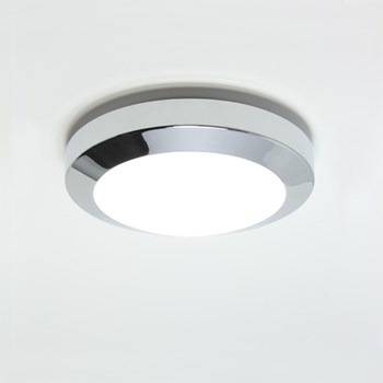 Kyoto  Plus 180, A modern flush ceiling light with opal glass cover, Polished Chrome