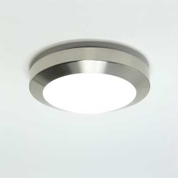 Kyoto  Plus 180, A modern flush ceiling light with opal glass cover, Brushed Nickel