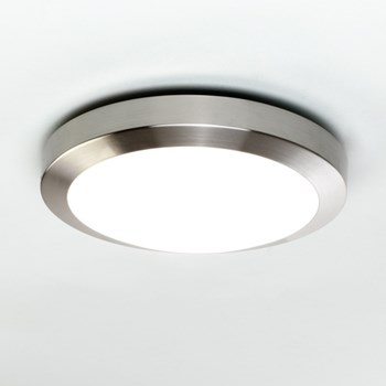 Kyoto  300, A modern flush ceiling light with opal glass cover, Brushed Nickel