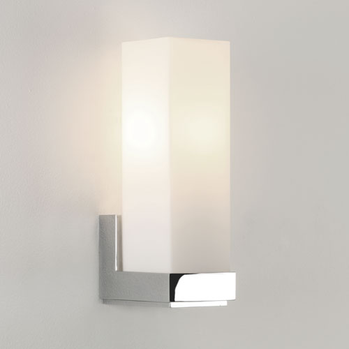 Taketa Chrome wall light with white opal glass diffuser
