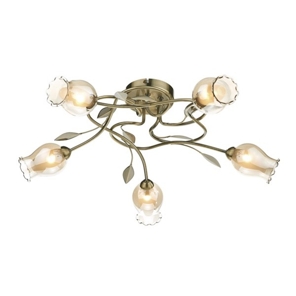 Clifton 5 Light Flush Antique Brass