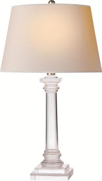 Crystal, Slender Column Bedside Lamp in Crystal with Natura