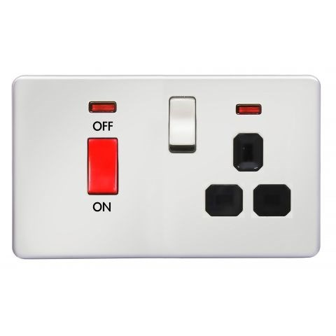 with 45A D.P. Switch + 13A Switched Socket with Neon