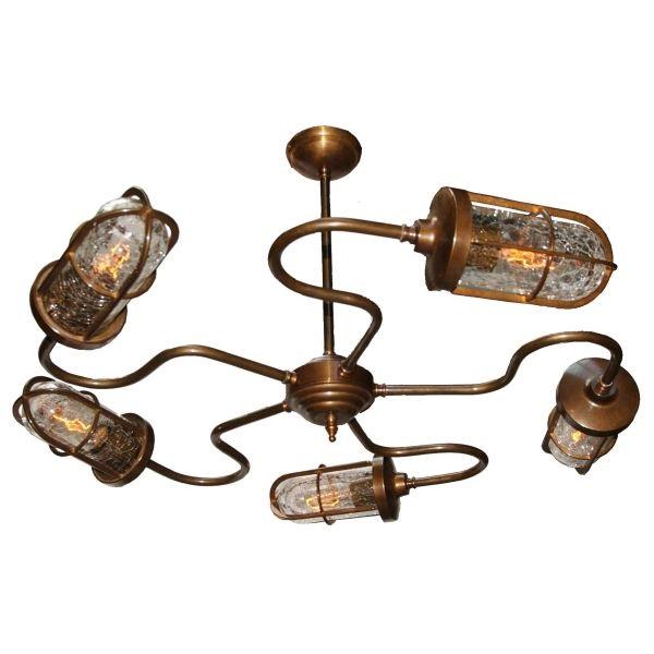 Bar Chandelier Light in Antique Brass
