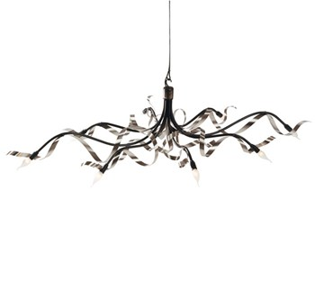 Ruban  Chandelier Oval, 8 Light, Stainless Steel
